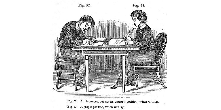 1849 Illustration - Proper Writing When Seated