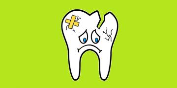 Cartoon Illustration of a Broken Tooth