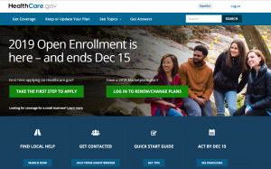 Healthcare.gov Home Page on 11/7/2018