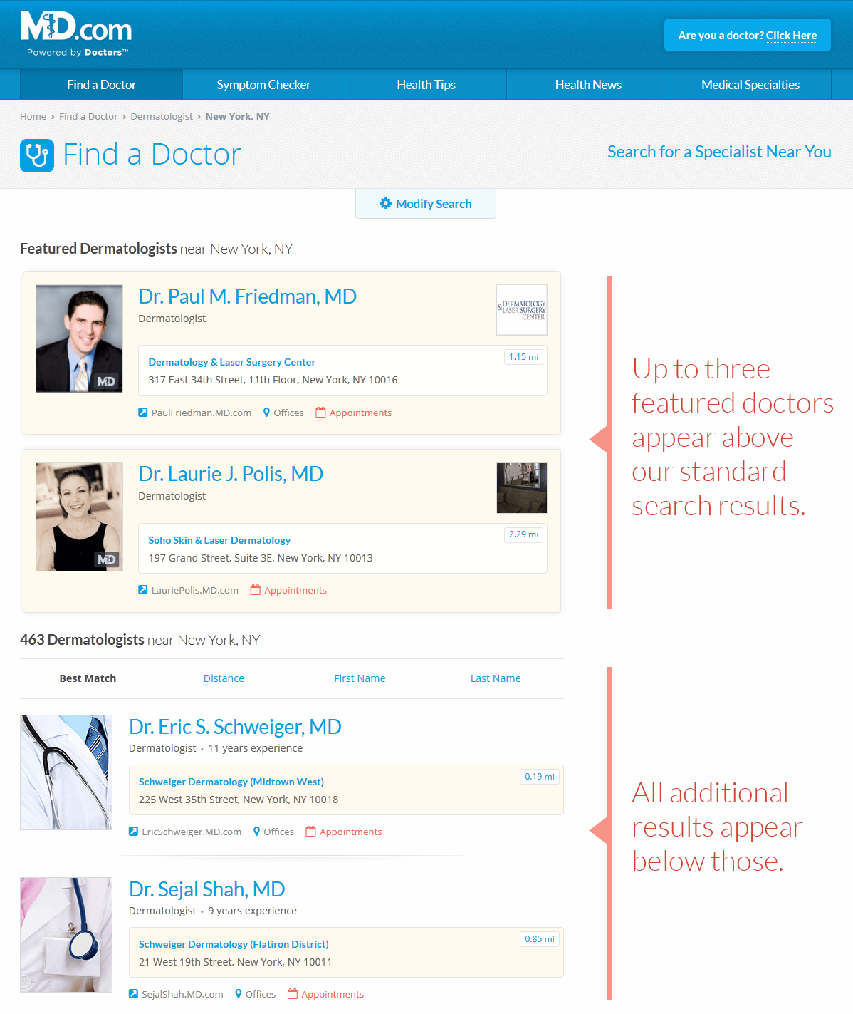 example of featured doctor listing